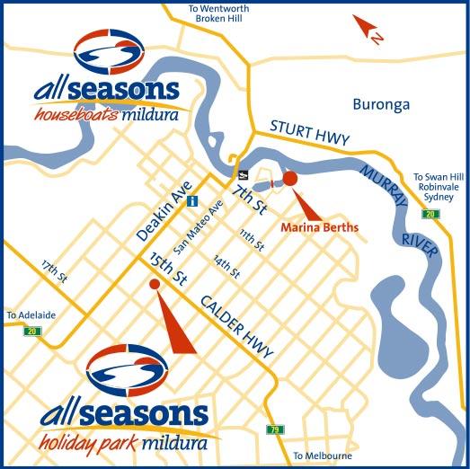 All Seasons Houseboats location map in Mildura