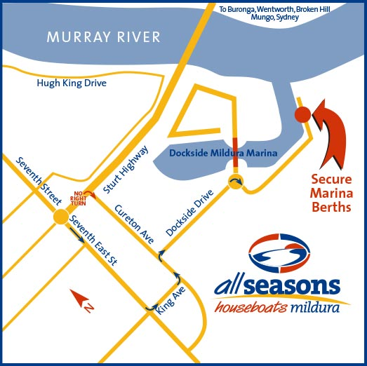All Seasons Houseboats location map at the Mildura Marina