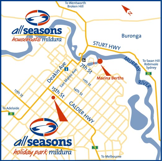 All Seasons Houseboats location map in Mildura